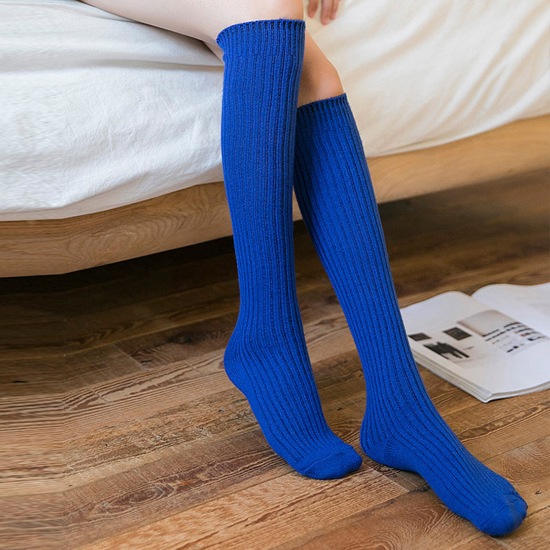 Image 2 - Autumn Winter Stockings Women Warm Cashmere Elasticity Knee High Stockings Black Blue Purple Gray Wine Red ColorStockings   -