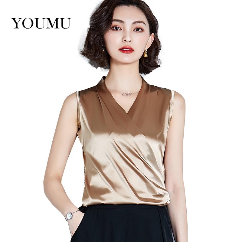 Shirts Tank-Tops Satin Shiny Camis Work-Wear Pleated Casual Women Summer Sleeveless V-Neck