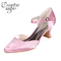 Creativesugar Pointed toe D'orsay ankle strap med hoof heel lady elegant evening dress shoes prom ball shoes office heels pink