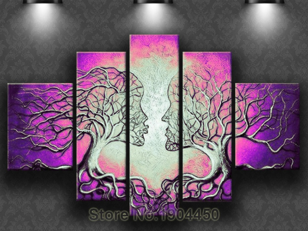 Free shipping hand painted modern purple abstract kiss