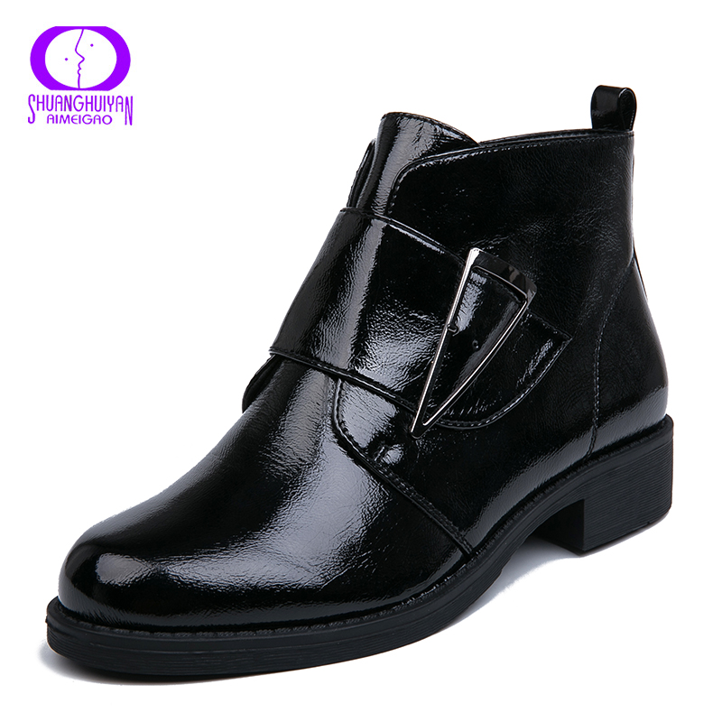 AIMEIGAO Plush Inside Patent Leather Ankle Boots Women Black Platform Heels  Boots Spring Autumn Zipper Ankle Black Women Boots