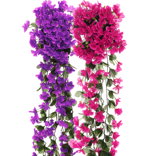 Aliexpress buy violet artificial flowers diy door lintel violet artificial flowers diy door lintel mirror flower vine artificial green plant silk fake flower for mightylinksfo