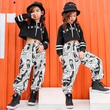 2a09a72a4dd78 Niños Hip Hop Sudadera con capucha ropa niñas Cropped sudadera Tops Jogger pantalones  Jazz danza traje baile ropa escenario fies.