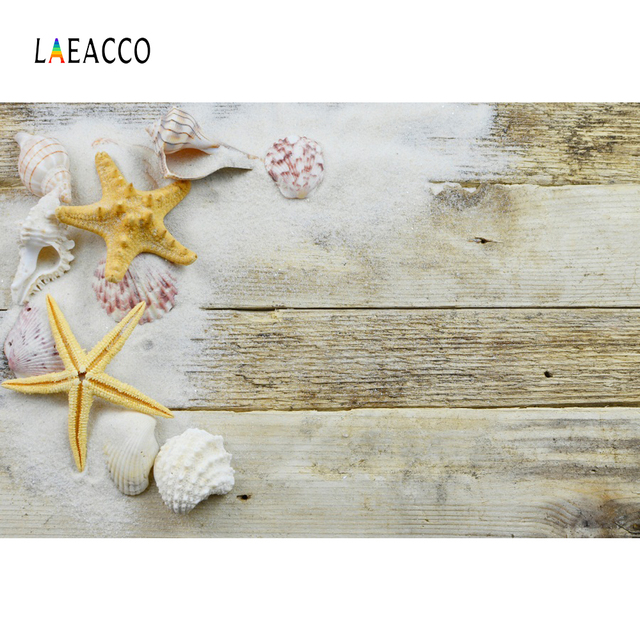 Laeacco Starfish Coral Shell Hardwood Planks Baby Doll Pet Portrait Photography Backdrops Photo Backgrounds For Photo Studio
