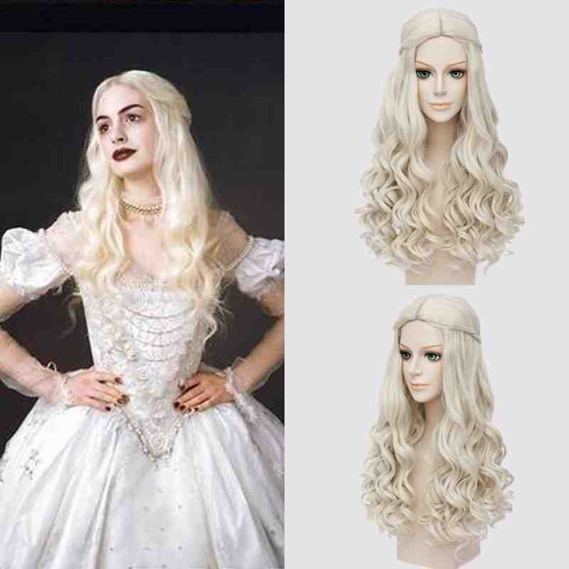 Alice In Wonderland White Queen Cosplay Wig Blonde Wavy Long Braid Styled Synthetic Hair Heat Resistance Fiber + Wig Cap