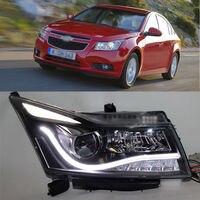 Ownsun супер крючке Биксеноновая объектив проектора LED DRL фара для Chevy Cruze 2011 +