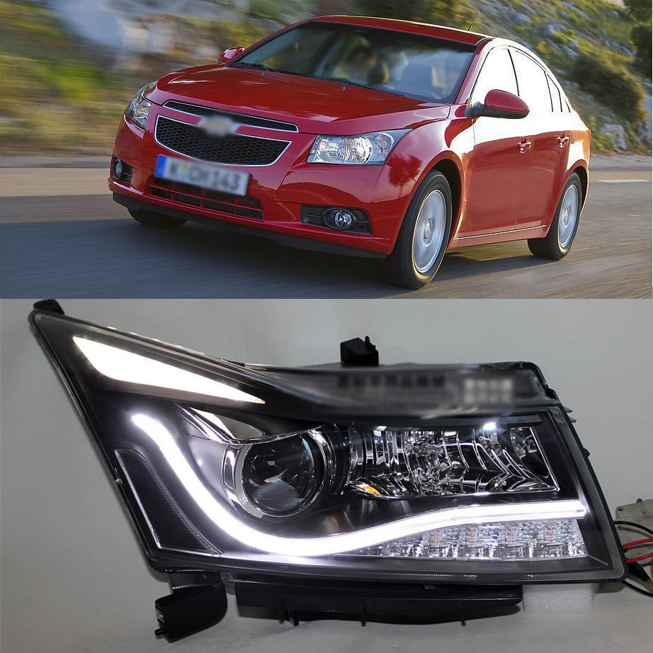 Ownsun Super Eagle Eye Bi-Xenon Projector Lens LED DRL Headlight for Chevy Cruze 2011+ ownsun new style tear drop led projector lens headlight for new ford focus 2012 2013