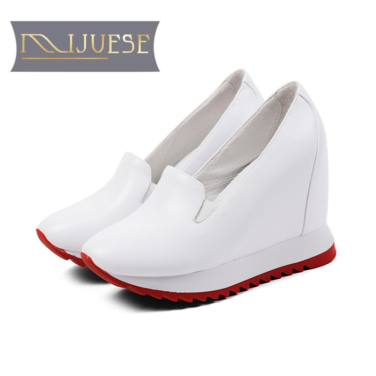 MLJUESE 2018 women pumps cow leather increased Internal slip on elegant high heels platform pumps boat