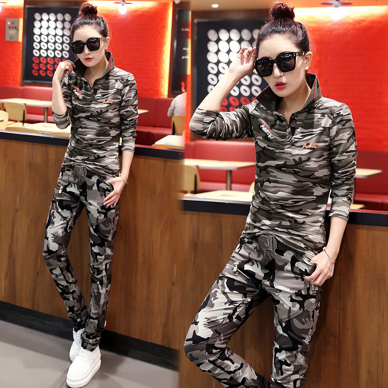 Hot Sale Women Polo Shirts Cotton Slimming Long Sleeve Women Camouflage Polo Shirts Polos Female Green Clothing Plus Size in Polo Shirts from Women 39 s Clothing