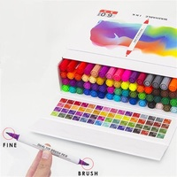 60 Colors Dual Tip Marker Pen Waterproof Professional for Arts Sketch Coloring Books Painting Manga and Design