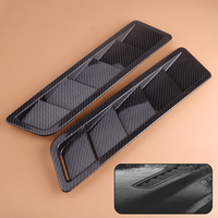 beler 2pcs Universal ABS Solid Carbon Fiber Look Style Hood Vent Louver Cooling Panel Trim Styling