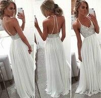 2018 frauen Damen Sommer Formale Hochzeit Backless Halfter Ärmellose Lange Partei Natürliche Kleid Solide Weiß