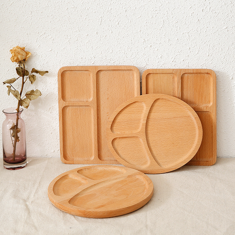 Creative tray beech multi-specification bread premium pizza tray nut plate snack wedding plates platter plate sauce dish image