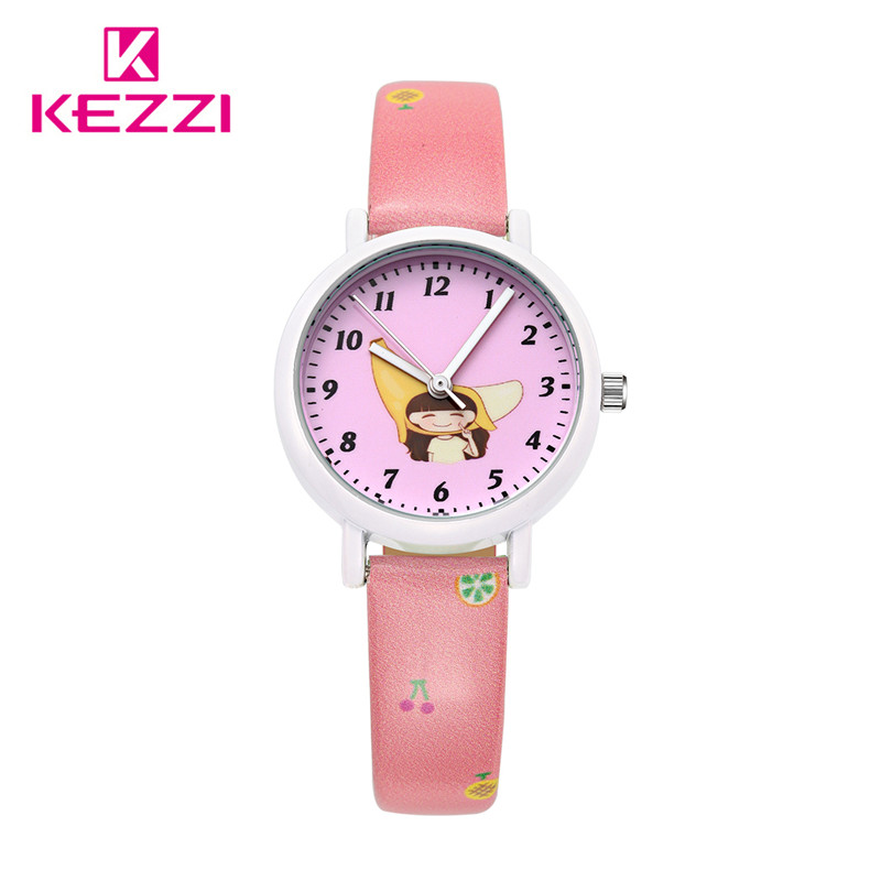 2016 Children Cartoon Summer Fruit Girl Watches Fashion Girl Kids Cute Leather Sports Analog Wristwatches Clock k1465 relojes