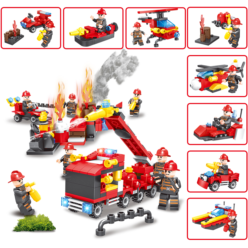 KAZI 8 in 1 City Fire Station Building Blocks Bricks Compatible Legoe Brinquedos Educational Toys For Children Christmas Gift