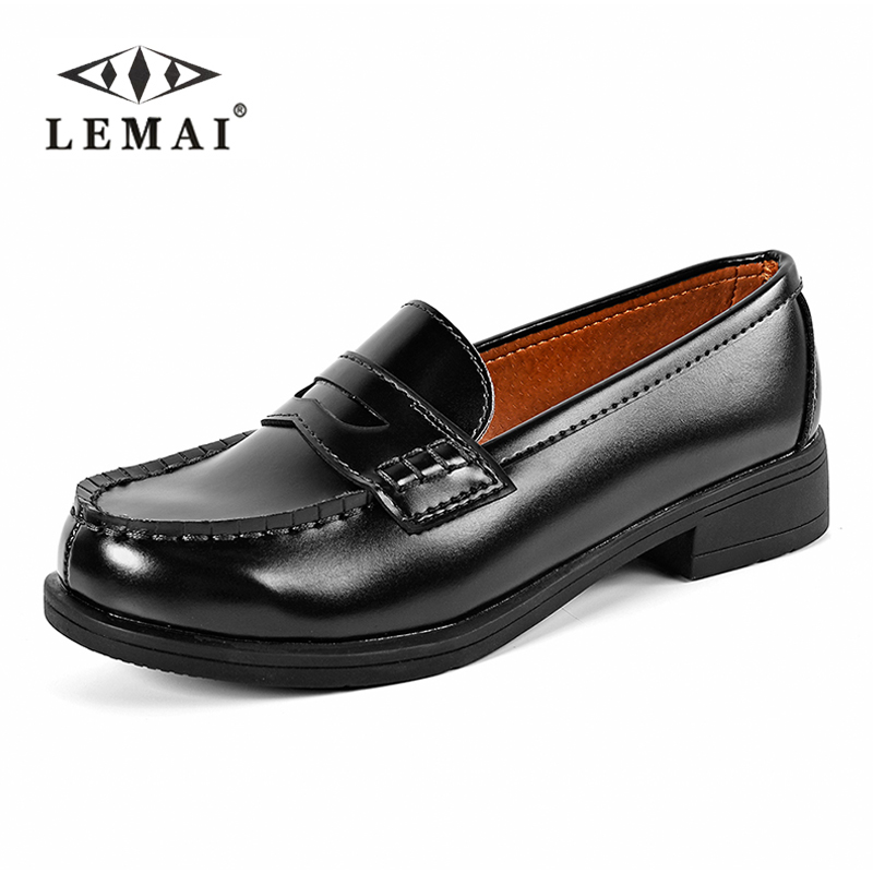 LEMAI Women Slip on Loafers Patent Leather Brogues Shoes Woman Oxford Shoes Flat Platform Shoes Plus size Eur41 dadawen boy s girl s slip on loafers oxford shoes