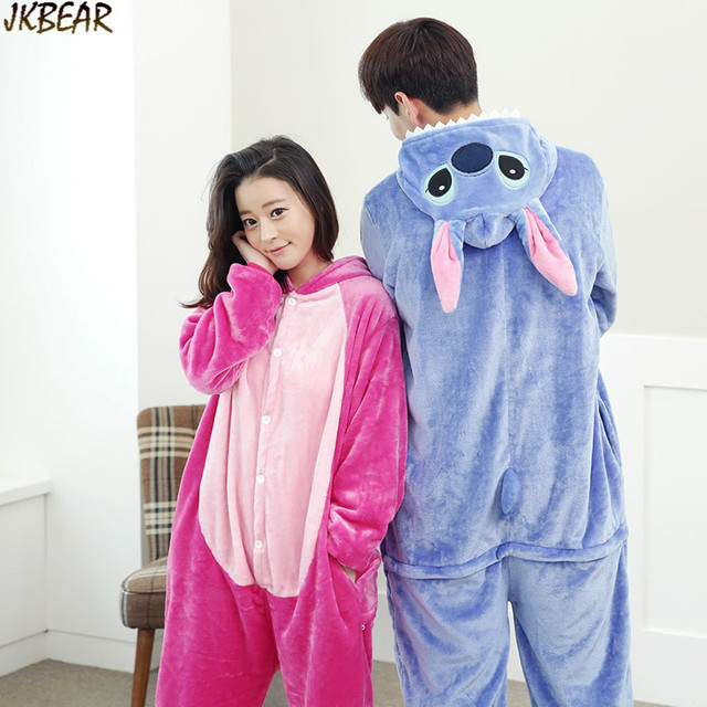 Cute Lilo and Stitch Onesies for Teenagers and Adults Flannel Funny Animal  Couples Matching Onesie Pajamas