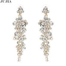 HOT long Women's Fashion Earrings Brand Shiny Metal Alloy with Crystal Stud HOOP Big Crystal Earring for Party Wedding(China)