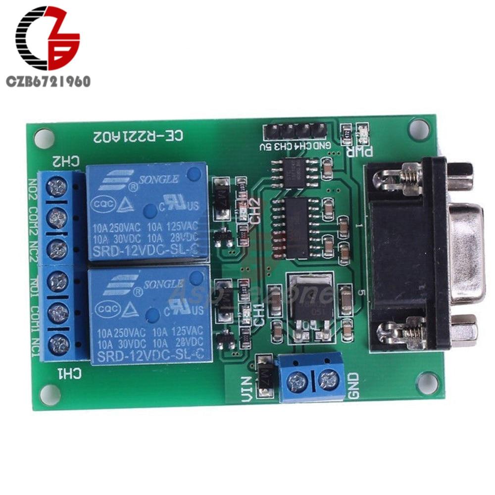 DC 12V 2 Channel RS232 Relay Module Board Remote Control USB PC UART COM Serial Ports esp 07 esp8266 uart serial to wifi wireless module