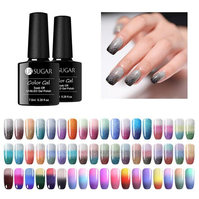 UR SUGAR Thermal Gel Polish Temperature Color Change Glitter Gel Lacquer Soak Off UV Hybrid Varnish Semi Permanent Gel Polish