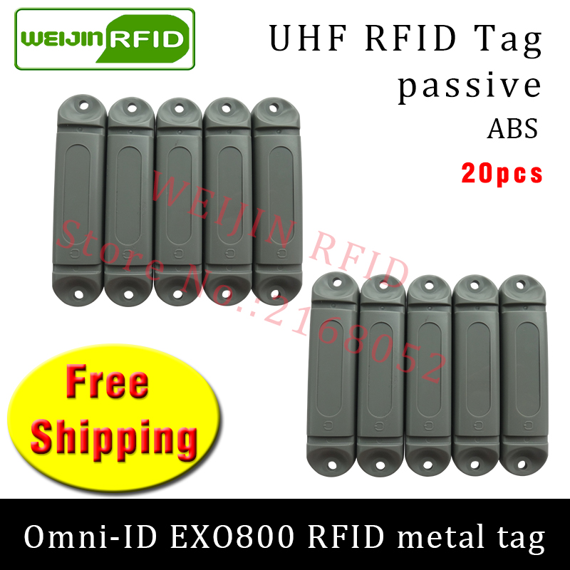 UHF RFID metal tag omni-ID EXO800 915m 868mhz Impinj Monza4QT EPC 20pcs free shipping durable ABS smart card passive RFID tags uhf rfid anti metal tag omni id adept 500 915m 868m gas cylinder management alien higgs3 epcc1g2 6c smart card passive rfid tags