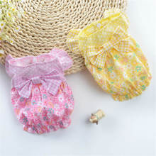 Cute Delicate Lattice Style Summer Pet Dog Dresses Clothes For Spring Puppy Skirt Dress