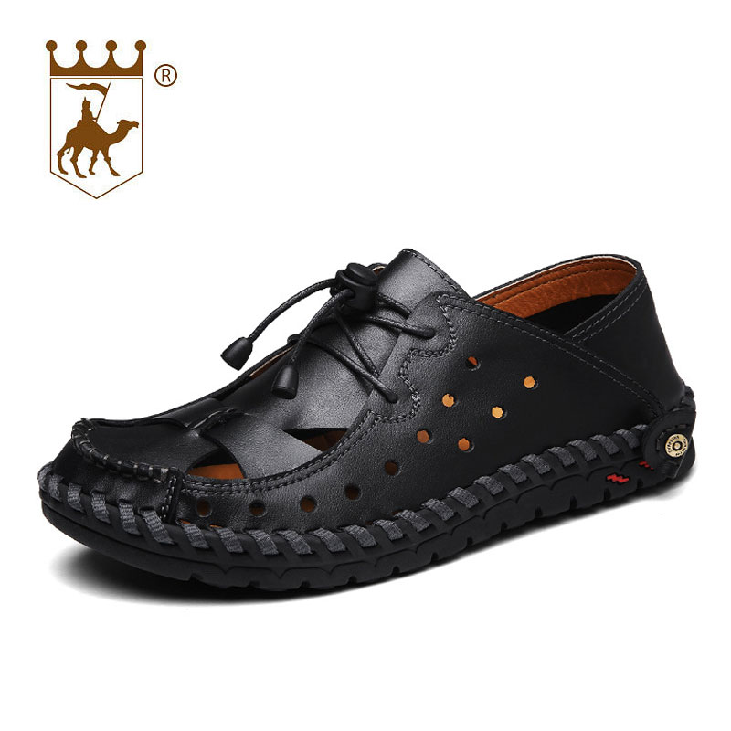 BACKCAMEL Summer 2018new fashion genuine leather sandals men hollow shoes leather breathable trend outdoor handmade native
