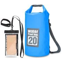 5L/10L/15L/20L Открытый Водонепроницаемый Сухой Рюкзак рулон-топ плавающая сумка с 6,3 ''водонепроницаемый чехол для телефона для каякинга рафтинг