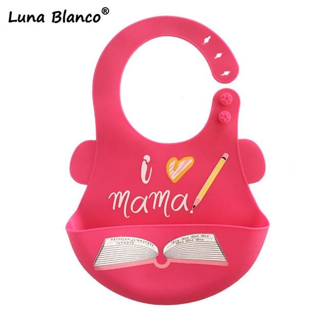 Luna Blanco Adjustable Baby biby soft silicone Waterproof bibs Children's Lunch Feeding Bibs Baby Apron Baby Bib