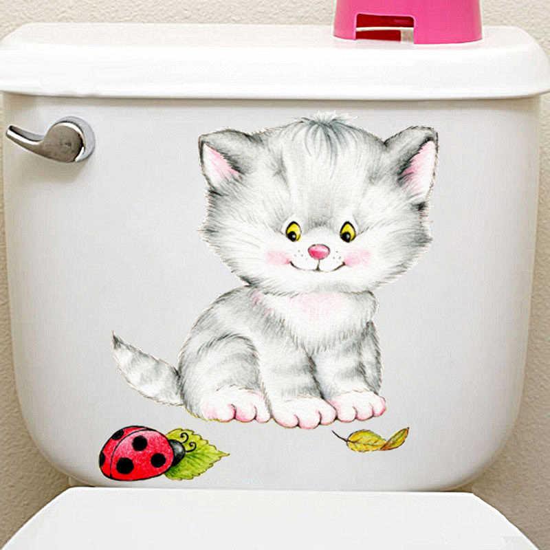 Милые детские кошачий Туалет наклейки для Wc украшение ванной Diy мультфильм котенок животное 3d стенное Украшение Искусство ПВХ домашние наклейки