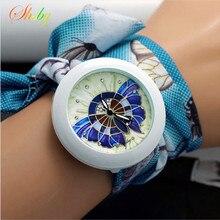 shsby new floral chiffon sweet girls watch Sweet chiffon fabric women dress watches fashion Ladies flower cloth wrist watch