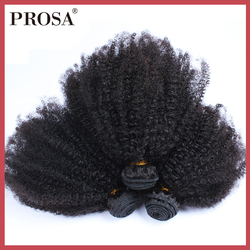 Afro Kinky Curly Hair Weave Human Hair Bundles One Pieces Mongolian Hair Extensions Natural Color Hair Weaving Prosa Non Remy