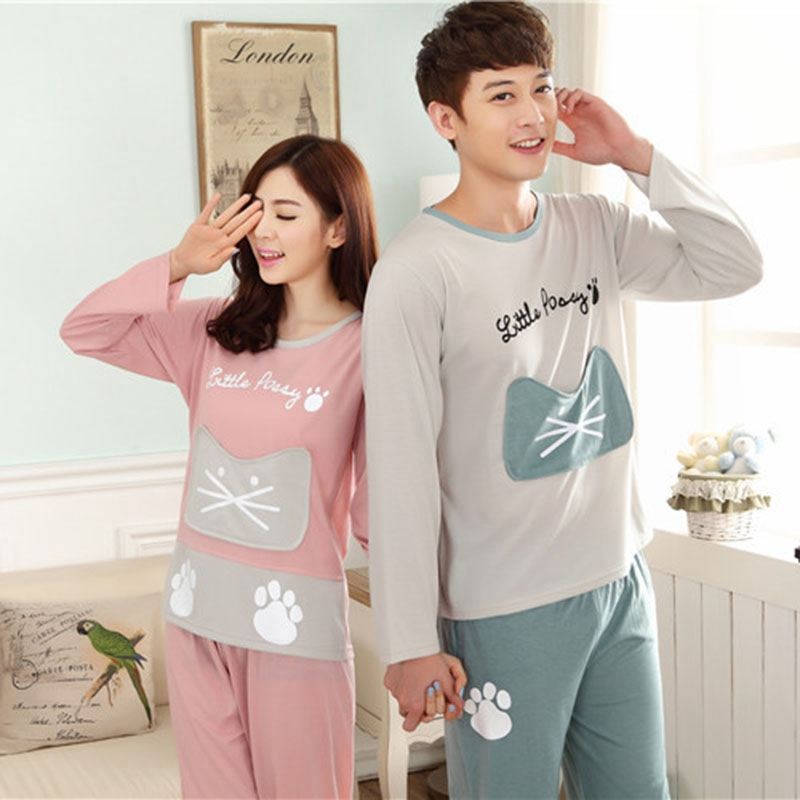 Couple Autumn   Pajamas     Set   Ladies Cute Cat Sleepwear Woman\'s Long Sleeved Winter   Pajamas   For Women Sleepwear Pijamas Women