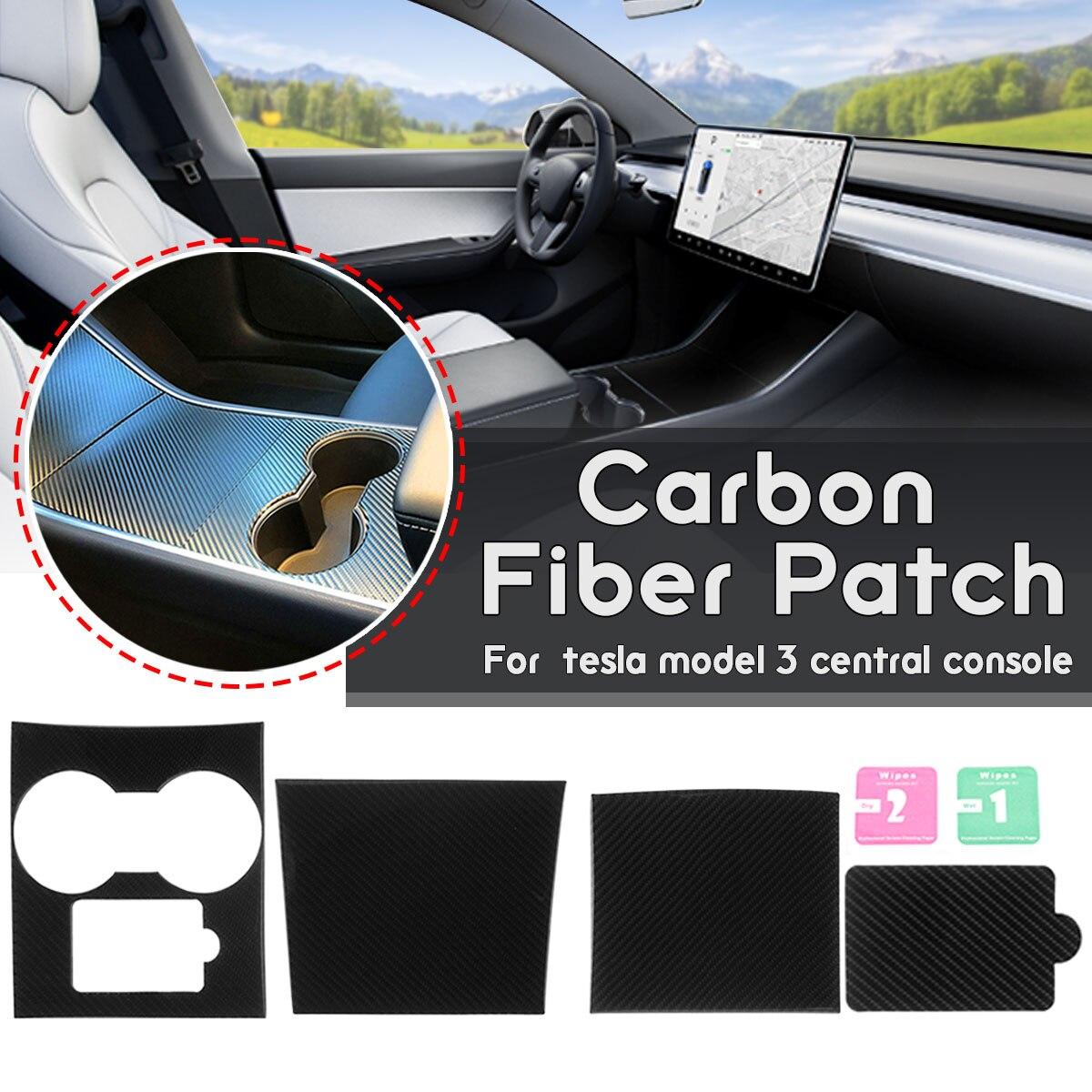 3 pièces/ensemble En Fiber De Carbone Véritable Patch Voiture Auto Style Autocollants Console centrale Kit Papier Pour Tesla Modèle 3 garnitures intérieure de voiture Autocollants