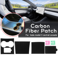3Pcs/set Real Carbon Fiber Patch Car Auto Styling Stickers Center Console Wrap Kit For Tesla Model 3 Car Interior Trim Stickers