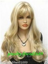 Wholesale heat resistant LY free shipping New wig long blonde mixed wavy hair health wig