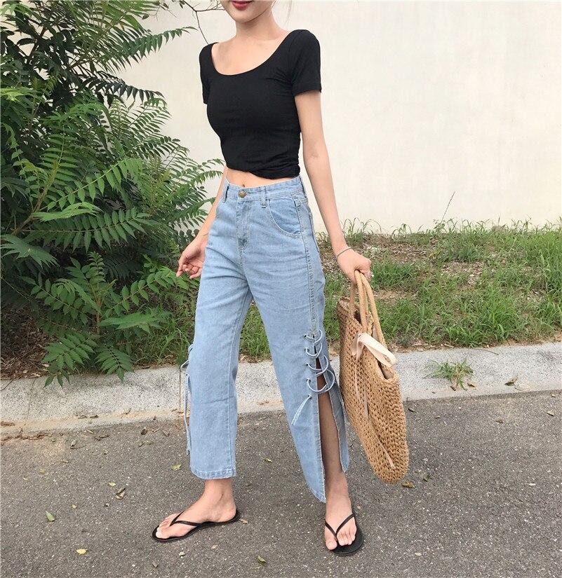 Real s 17 South Korea side of the fork straight jeans women summer wide leg pants light high waist nine points pants tide 8541