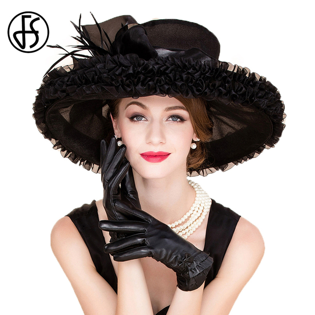 Fs Elegant Organza Church Hats Black For Women Wedding Formal Fedoras 2018 Summer Large Wide Brim