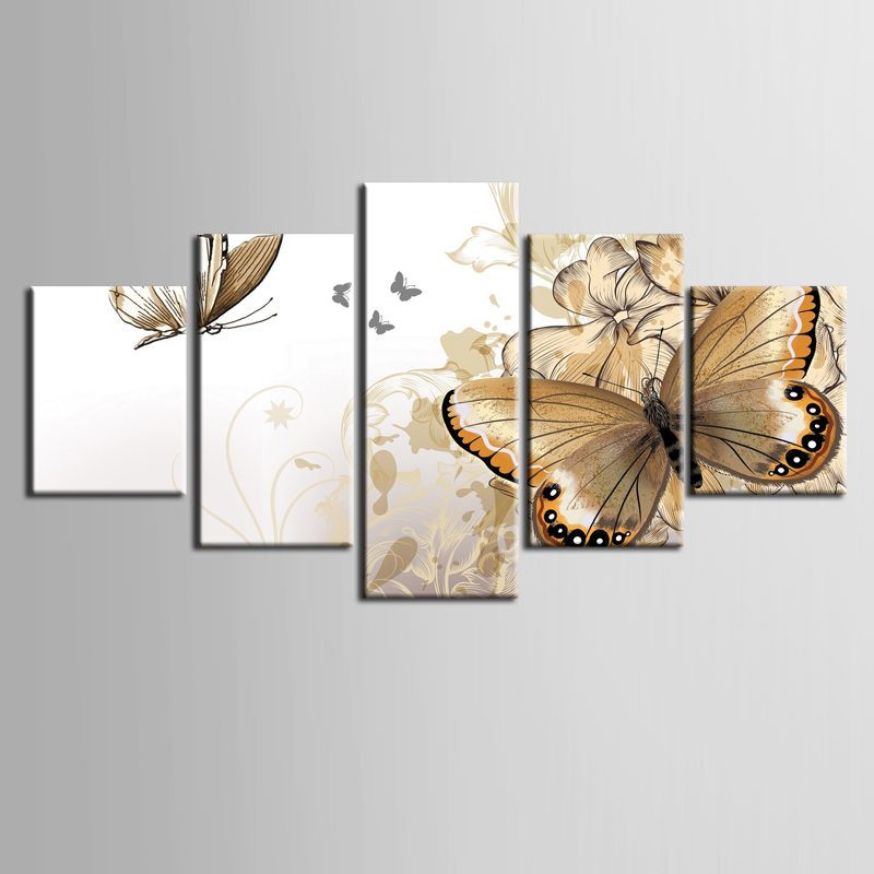 Beautiful Decorative butterfly paintings 5 piece large canvas print wall art modular painting on decoration pictures