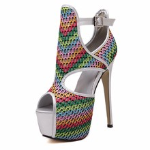 High Quality 2016 Novelty Shoes Woman Multicolor Peep Toe Hollow Out Thin Heels High Ankle Strap Summer Classic Nightclub Pumps