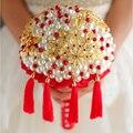 Китайский стиль свадебный букет перл кристалл бахромой цветок мяч высокого класса на заказ невеста перл букет красный брошь букет
