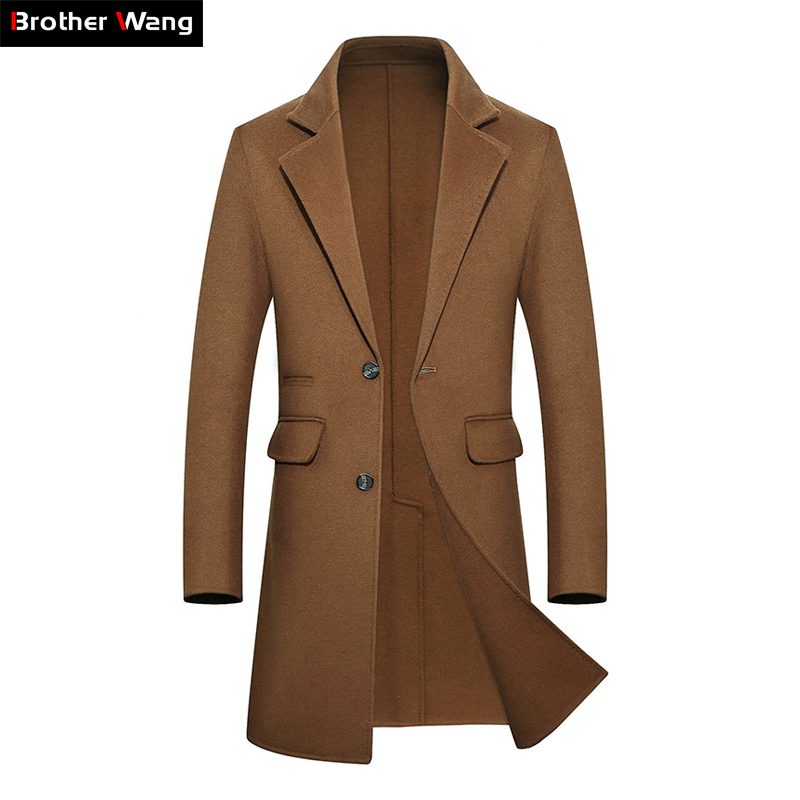 Haute Qualité Hommes de Cachemire Manteau 2019 Marque Vêtements Automne Hiver Nouvelle Entreprise De Mode Casual Laine Veste Mâle Armygreen Kaki