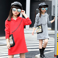 2017 spring girls fashion long hoodies for children warm red gray fleece lining big kids winter hooded sweatshirts dress FH075