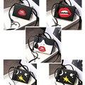 Couro genuíno de moda personalizado sexy lábios vermelhos cara de lua estrelas mini senhoras da caixa bolsa de ombro bolsa totes messenger bag flap
