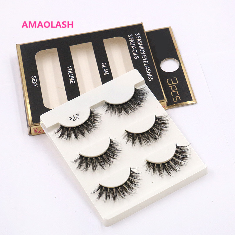 AMAOLASH False Eyelashes 3D Silk Lashes A12 Handmade Natural Eye Lashes Individual Eyelashes Faux Cils A12 Eyelash Makeup