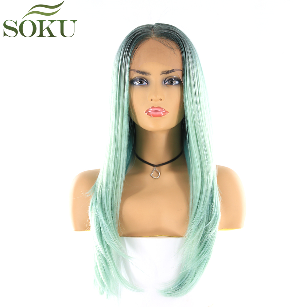 SOKU Synthetic Lace Front Wigs Straight Ombre Green Color Wigs 24 Inch Heat Resistant Wig For Women Free Shipping