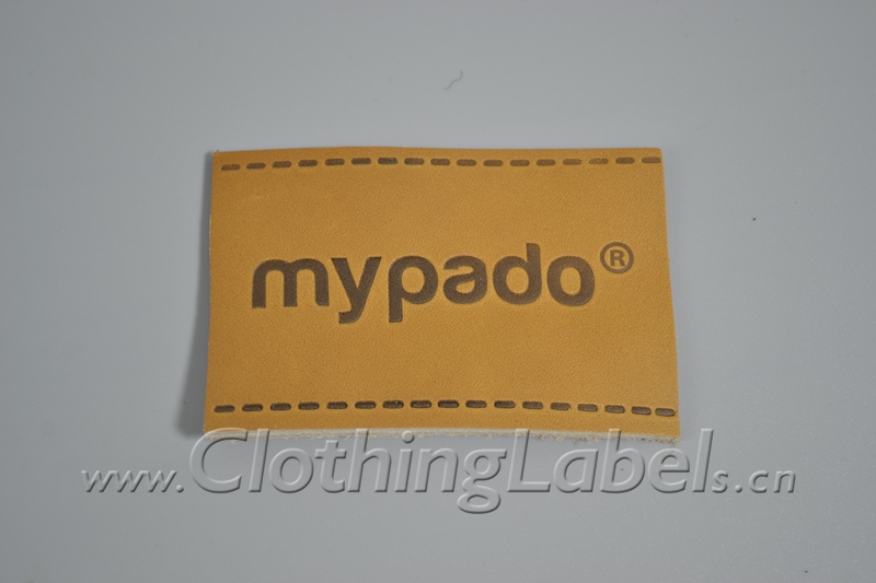 Brown and Black genuine real leather tags labels with debossing