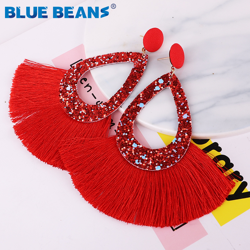 Tassel Earrings Shining Fashion For Women Boho Water Drop Earring Handmade Big Drop Dangle Round Jewelry Party gift statement 5
