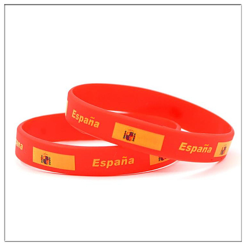 100pcs Spain Flag Rubber Bracelets Hologram Sports Silicone Country Logo Wristband Wrist Strap Bangle Espana Bandera