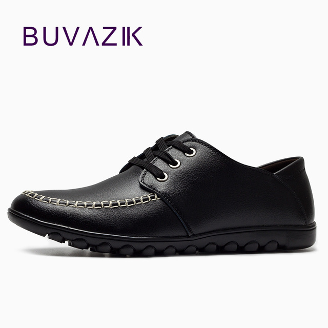 BUVAZIK new 2018 leather casual shoes men soft and comfor driving shoes  hand stitching high-